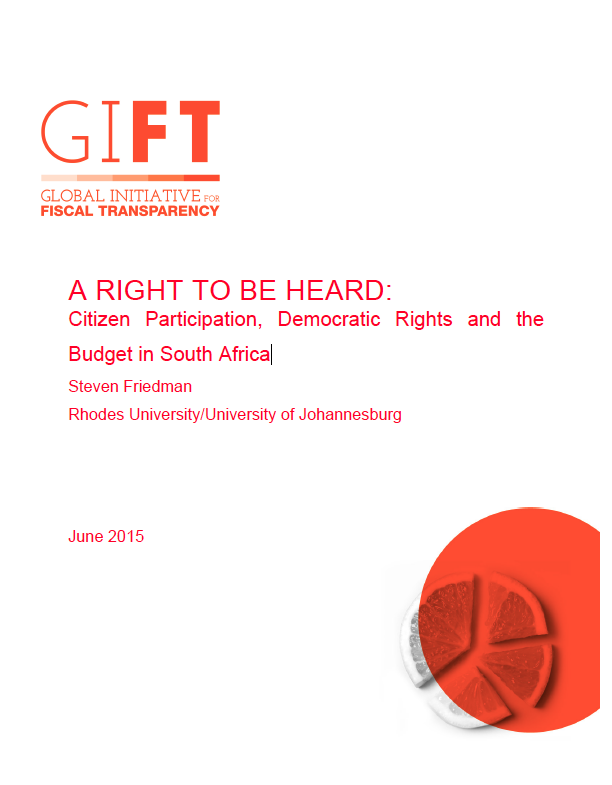 A Right to be Heard: Citizen Participation, Democratic Rights and the Budget in South Africa
