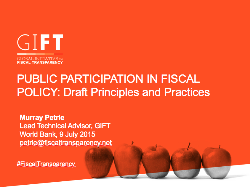 Public Participation in Fiscal Policy: Draft Principles and Practices. Presentation with the GPSA